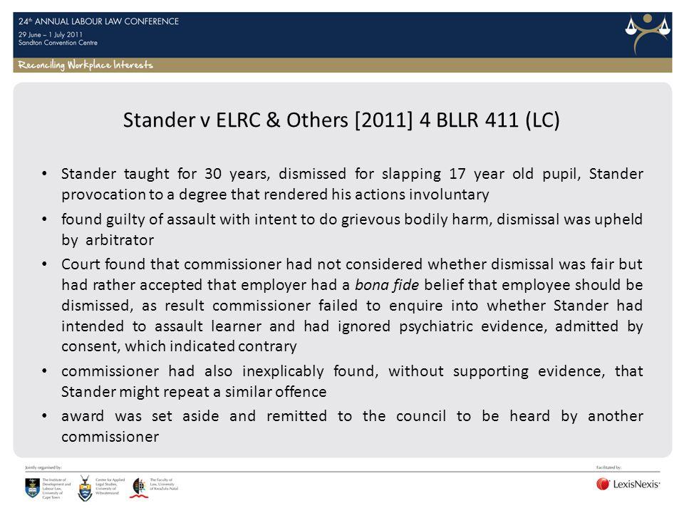 Stander v ELRC & Others [2011] 4 BLLR 411 (LC)